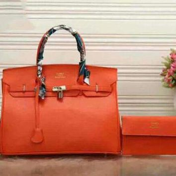 ONETOW Hermes Two piece Leather Handbag Tote Satchel Shoulder Bag F-LLBPFSH Orange-red