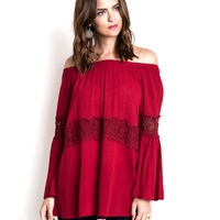 Women's Off-the-Shoulder Lace Inset Top