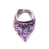 Baby Bandana Bib Scarf in Purple Floral Cotton with Snap Closure for Girl