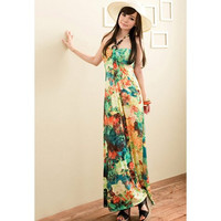 Floral Print Halter High Waist Maxi Dress