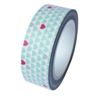 Dress My Cupcake DMC41WT887 Washi Decorative Tape for Gifts and Favors, Valentines Aqua Diamond Blue/Pink Mini Hearts