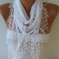 Cotton  Scarf -  Shawl - Cowl Scarf with Lace Edge   - White Scarf - fatwoman - Bridesmaids Gifts