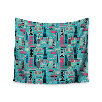 "Allison Beilke ""My Kind of Chicago"" Blue Pink Wall Tapestry"