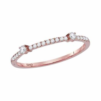 10kt Rose Gold Womens Round Diamond Single Row Stackable Band Ring 1/6 Cttw
