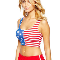 American Flag Print Sleeveless Bodycon Cropped Tank