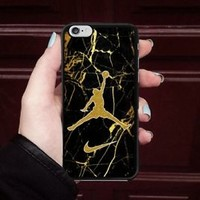 Top Nike.86 Air Jordan Gold Marble Hard Case For iPhone 6 6s 7 8 Plus X Cover +