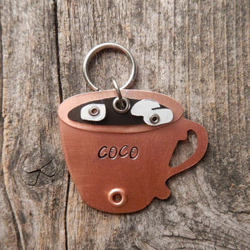 Pet Tag Dog Tag ID Artisan Charm Hot Cocoa Coco Coffee Tea Cup Chocolate Name Copper Custom Circle Rivets Stamped Keychain Pendant Pet Lover