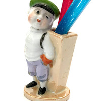 Rare Porcelain Figural Toothbrush Holder, News Boy Figure, Holds 1-2 Toothbrushes, Stands Counter, Hand Painted, Vintage Gift for Home