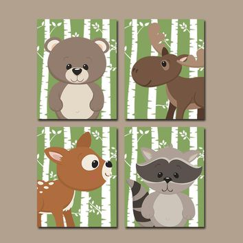 WOODLAND Animals Wall Art, Nursery Woodland Decor, Birch Tree Wood Forest Animals, CANVAS or Print Woodland Nursery Decor, Set of 4 Art