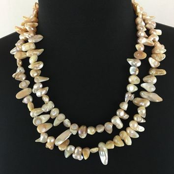 AB irregular shaped double strands Mother of Pearl (MOP)freshwater pearls womens necklace.