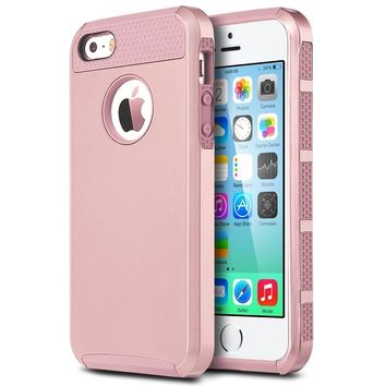 iPhone SE Case , iPhone 5S Case , iPhone 5 Case,Alkax 2 Piece Armor Heavy Duty Rugged Dual Layer Slim Fit Protection Hybrid Protective Cover Bumper for Apple iPhone SE +1 Stylus Pen (Rose Gold)