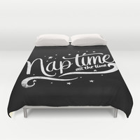 Nap time all the time Duvet Cover by Matthew Taylor Wilson