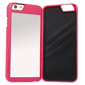 Hot High Quality Luxury Lady make up 3D Dual Layer Card Slot Wallet Mirror Case cover For iPhone 7 6 6S 6 Plus 6S + 4.7 5.5 inch