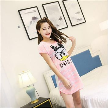 Summer New Women's fashion wearing loose Sleepshirts sweet Character Animal printing Short sleeve Indoor Clothing Nightgowns