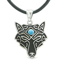 Celtic Wolf All Seeing Third Wisdom Eye Protection Amulet Simulated Turquoise Pendant Leather Necklace
