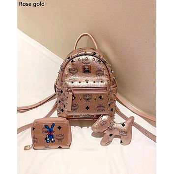 MCM Tide brand female new product wild backpack three-piece Rose gold
