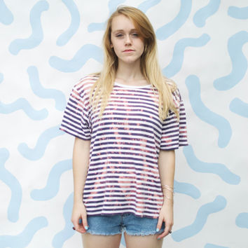 Bleached Oversized Nautical Stripe Tee