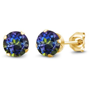 1.20 Ct Round Shape Blue Mystic Topaz Yellow Gold Plated Silver Stud Earrings