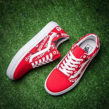 CREYNW6 Sale Supreme x Vans Classic Red White Graffiti Sneaker Casual Shoes Skateboard Shoes
