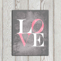 Love printable Love print Pink gray Nursery ideas Valentines card Canvas art Nursery wall art decor Little girls bedroom INSTANT DOWNLOAD