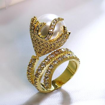 Nice Looking Women Imitation Pearl Rings Pave Setting  Cubic Zirconia  Gold &  Lead Free Deluxe Engagement Gift