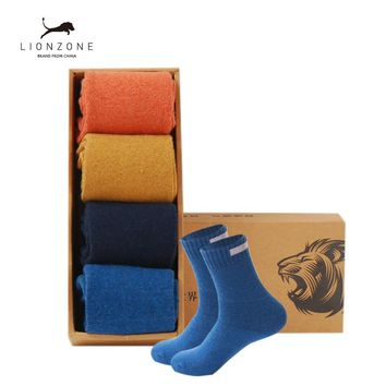 Thick Wool Socks Men Business Casual Calcetines Invierno Meias Homens Cloth Sign Contracted Design LIONZONE Brand 1Lot=4PCS