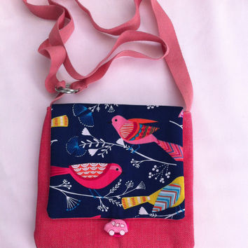 Singing Birds Handmade Pocket Shoulder Bag