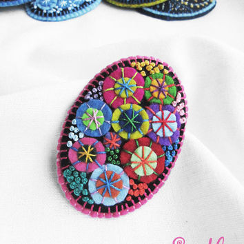 Color Textile Firework Brooch | Felt Brooch | Textile Art Jewelry | Idea for Gift | Creative Original Unusual Pin | Purple Lilac Pink