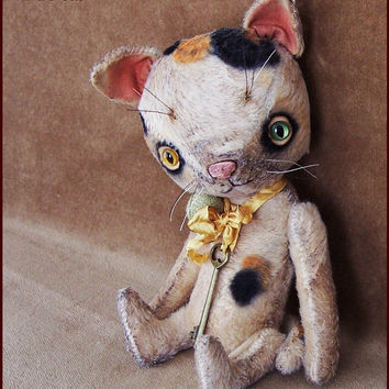 "by Alla Bears TINY 8"" inch Cat ""made to order"" original artist ooak Vintage girl collectible handmade toy baby doll Whimsical Victorian"