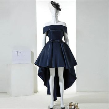 Real Picture Vintage Off the Shoulder Short Front Long Back Cocktail Dresses Navy Blue High Low Formal Dresses for Wedding Party