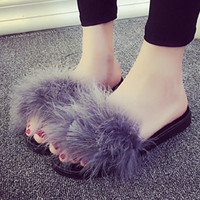 Fur Flip Flops Sandals Women 2017 New Brand Plush Warm Winter Home Slippers Casual Summer Comfortable Woman Flats Shoes