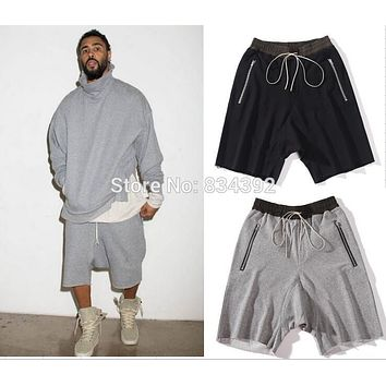 Top quality luxury famous brand FOG FEAR OF GOD black/grey shorts justin bieber kanye west summer men drawstring sweat shorts