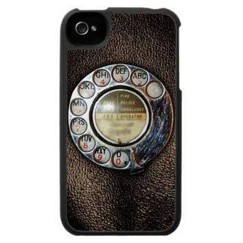Retro Rotary Phone Dial On Vintage Brown Leather iPhone 4 Case from Zazzle.com