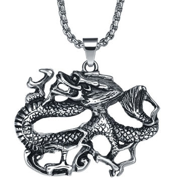 Stainless Steel Tangling Dragon Pendant Necklace