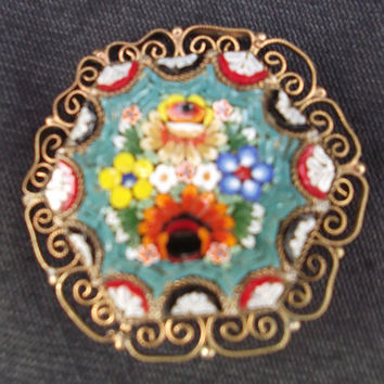 Hexagonal micro-mosaic vintage brooch with filigree edging. Micro-mosaic pin.