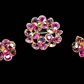 Pink and Purple Bezel Set Crystal Brooch and Earrings Set Layered and Angled in Gold Tone