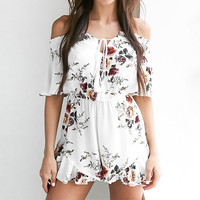 2017 Sexy Womens Jumpsuit Vintage Floral Print Rompers Off Shoulder Playsuits Backless Tassel Ruffle
