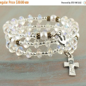 On Sale Crystal and Pearl Wrap Rosary Bracelet Dove Charm Communion Cross Prayer Beads Fits Girls First Holy Communion Gift Flower Girl Gift