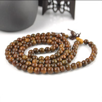 108*8mm Fragrant Sandalwood Beads Bracelet Buddhist Prayer Green Beads Mala Necklace For Man Jewerly t558