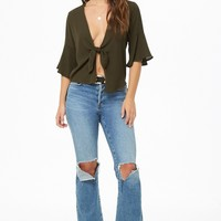 Billowy Tie-Front Top
