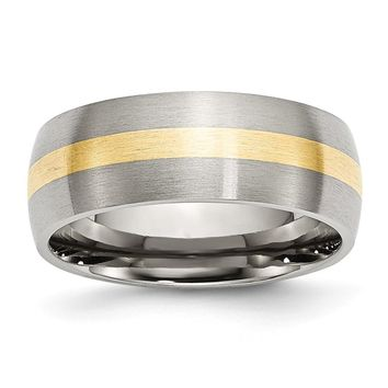 Yellow Gold Inlay Brushed Ring in Stainless Steel - 8 Mm