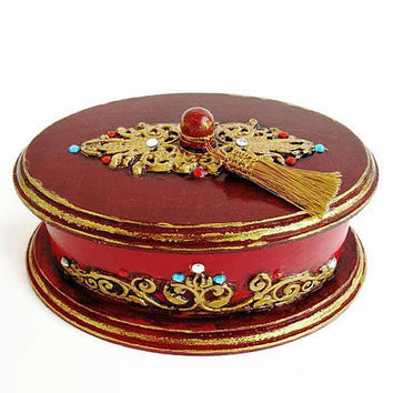 Red jewelry box, Red and gold, Oval storage box  Wooden box Decorative box A gift for a woman Birthday present Retro Victorian jewelry box
