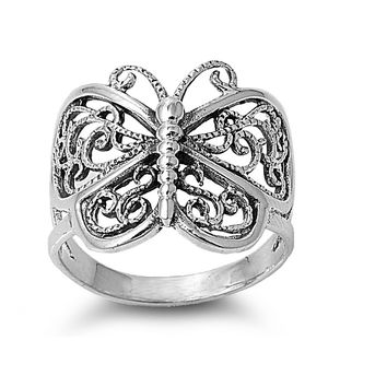 925 Sterling Silver Victorian Filigree Butterfly 19MM Ring
