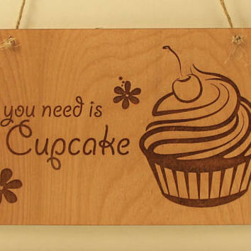 Cupcake sign Laser cut Kitchen decor Wood sign Small sign Laser engraved Cupcake lover's gift Flower decor Cupcake design Birthday gift