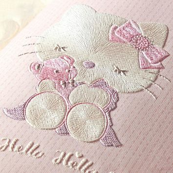 Cartoon Cat Wallpaper for Children's Room Boys Girls Bedroom Wall Decoration Pink Blue White Beige 3D Non-woven Wall Paper Roll