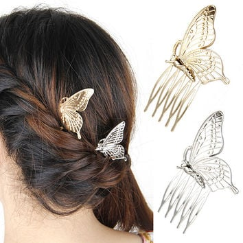 HOT! Women's Vintage Butterfly Alloy Hair Comb Headwear Party Fashion Jewelry