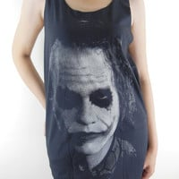 Joker Shirt -- Joker Heath Ledger Batman The Dark Knight Movie Shirt Women T-Shirt Tunic Tank Top Sleeveless Singlet Black T-Shirt Size M