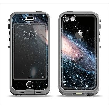 The Swirling Glowing Starry Galaxy Apple iPhone 5c LifeProof Nuud Case Skin Set