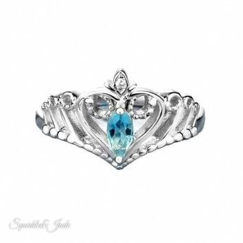 Personalized Sterling Silver Crown Marquise Birthstone Ring - Engravable