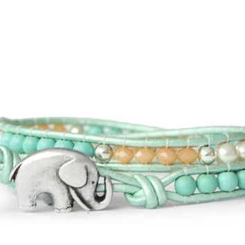 Pastels... Mint, Peach and Cream Beaded Leather Wrap Bracelet - the lucky elephant Original with Good Luck Elephant Button